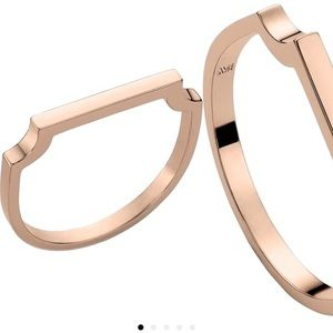 Monica Vinader signature thin ring, rose gold.